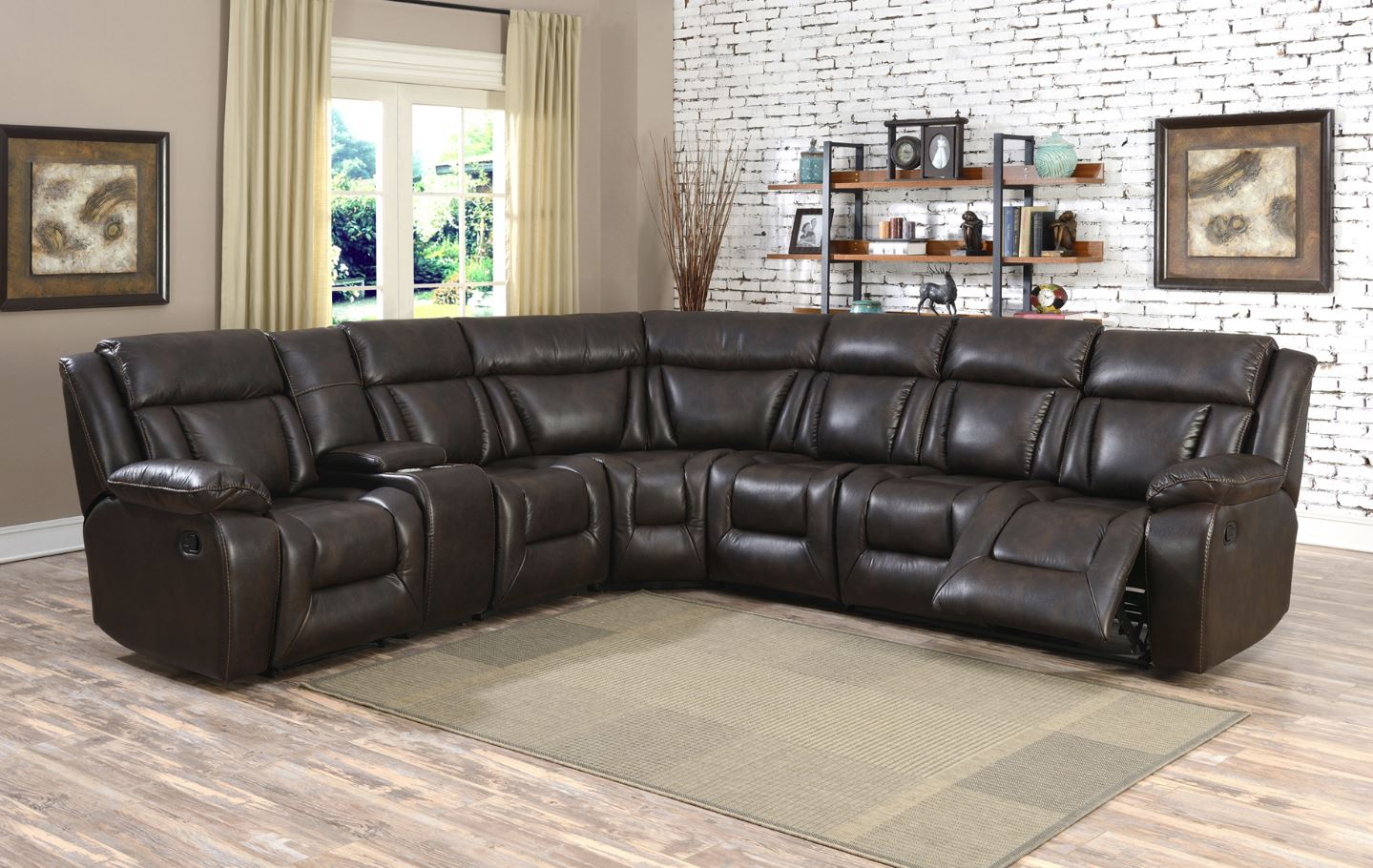 Leather Air with Memory Foam Recliner Sectional